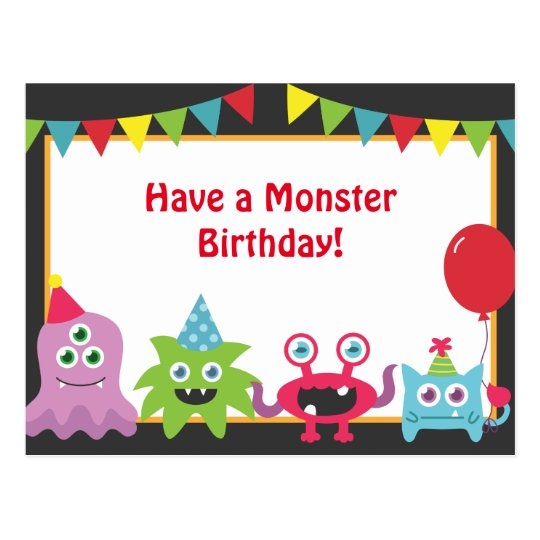Cute Little Monster Happy Birthday Postcard