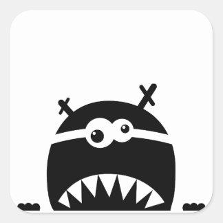 Cute little monster stencil square sticker
