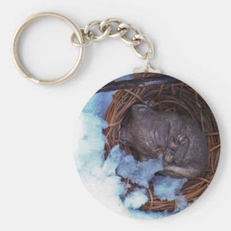cute little mouse in the snow basic round button keychain