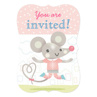 Cute little mouse kids birthday party card