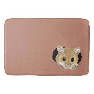 Cute Little Mouse Peeking out Watercolor Animal Bath Mat