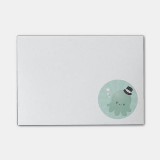 Cute Little Octopus wearing a black Top Hat Post-it Notes