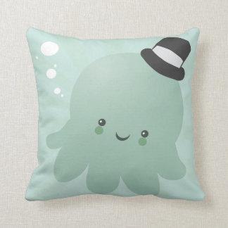 Cute Little Octopus wearing a black Top Hat Throw Pillow