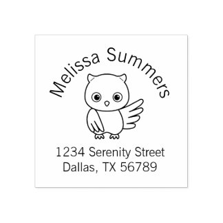 Cute Little Owl Address Rubber Stamp