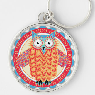Cute Little Owl Colorful Bird Watcher's Funny Silver-Colored Round Keychain