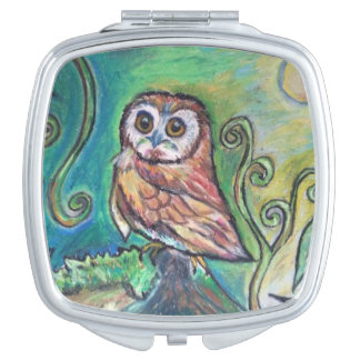 Cute little owl compact mirrors