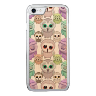 Cute Little Owls in Pastel Colors Carved iPhone 8/7 Case