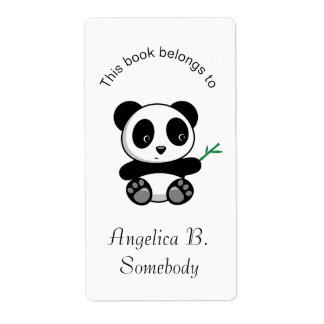 Cute Little Panda with a Bamboo Stick Bookplate