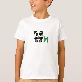 Cute Little Panda with a Bamboo Stick Monogram T-Shirt