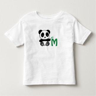 Cute Little Panda with a Bamboo Stick Monogram Toddler T-shirt