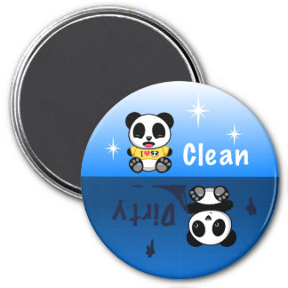 Cute Little Pandas Clean Dirty 3 Inch Round Magnet