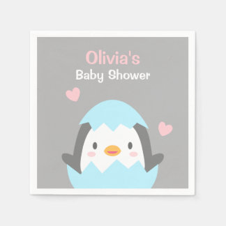Cute Little Penguin Baby Shower Party Napkins Paper Napkins