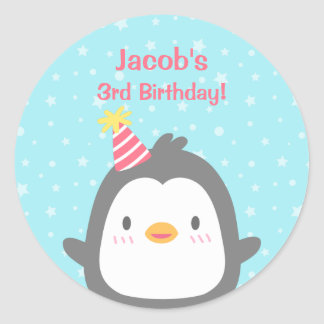 Cute Little Penguin Birthday Party Favor Stickers