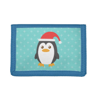 Cute Little Penguin with Santa Hat for Christmas Tri-fold Wallet