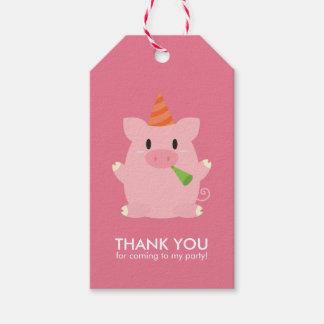 Cute Little Pig Kids Birthday Party Pack Of Gift Tags