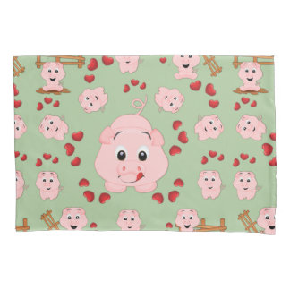 Cute Little Piggies and Hearts Pattern Print Pillowcase