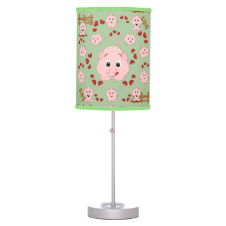 Cute Little Piggies and Hearts Pattern Print Table Lamp