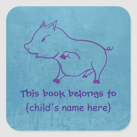 Cute little Piggy for boys - Book Belongs To Square Sticker