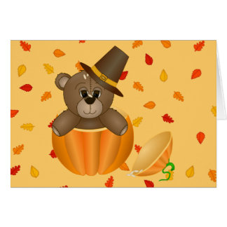 Cute Little Pilgrim Teddy Bear in a Pumpkin Card