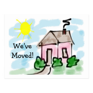 Cute Little Pink House Moving Announcement Postcard