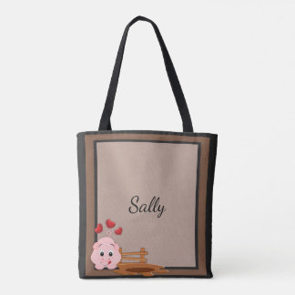 Cute Little Pink Piggy Personalized Tote Bag
