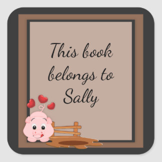 Cute Little Pink Piggy Square Sticker