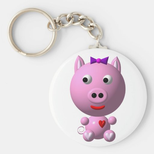 Cute little pink piggy with hearts and bow! key chain