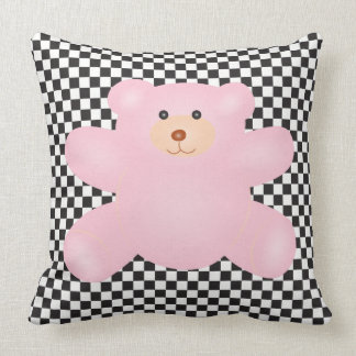 Cute Little Pink Teddy Bear And Checkered Pattern Throw Pillow
