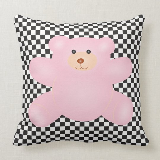Cute Little Pink Teddy Bear And Chequered Pattern Throw Pillow