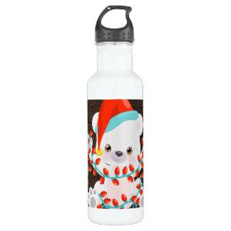 Cute Little Polar Bear with Christmas Lights 710 Ml Water Bottle