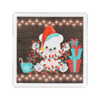 Cute Little Polar Bear with Christmas Lights Acrylic Tray