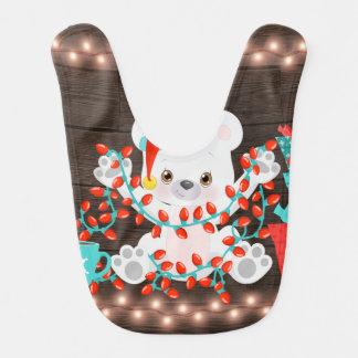 Cute Little Polar Bear with Christmas Lights Bib