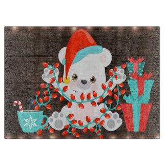 Cute Little Polar Bear with Christmas Lights Boards