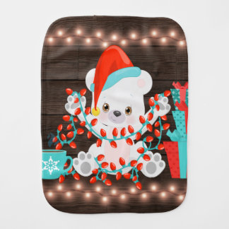 Cute Little Polar Bear with Christmas Lights Burp Cloth