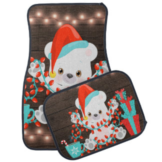 Cute Little Polar Bear with Christmas Lights Car Mat