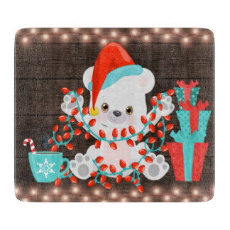 Cute Little Polar Bear with Christmas Lights Cutting Board