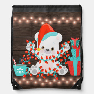 Cute Little Polar Bear with Christmas Lights Drawstring Bag