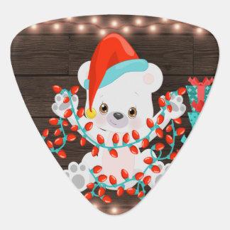 Cute Little Polar Bear with Christmas Lights Guitar Pick