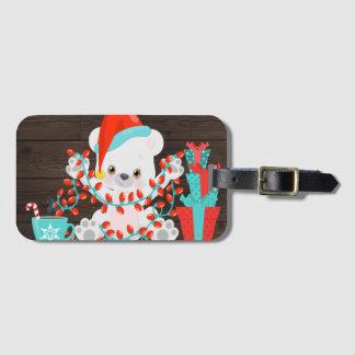Cute Little Polar Bear with Christmas Lights Luggage Tag