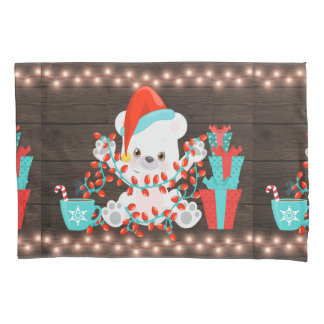 Cute Little Polar Bear with Christmas Lights Pillowcase