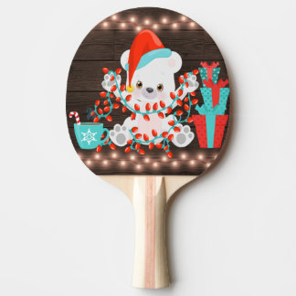 Cute Little Polar Bear with Christmas Lights Ping Pong Paddle