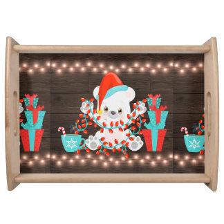 Cute Little Polar Bear with Christmas Lights Serving Tray