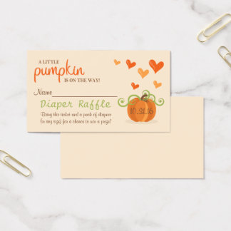 Cute Little Pumpkin Baby Shower Diaper Raffle Business Card