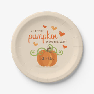 Cute Little Pumpkin Baby Shower Paper Plates 7 Inch Paper Plate