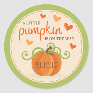 Cute Little Pumpkin Baby Shower Stickers