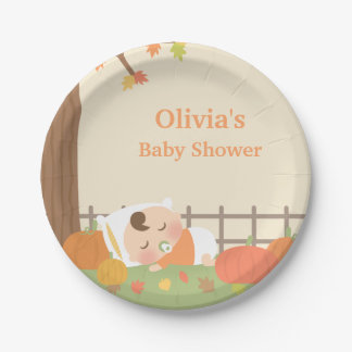Cute Little Pumpkin Baby Shower Supplies Paper Plate