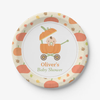 Cute Little Pumpkin Carriage Baby Shower Plates