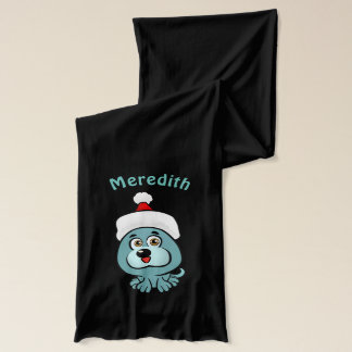 Cute Little Puppy With Christmas Hat Cartoon Scarf
