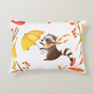 Cute Little Raccoon With Umbrella in Leafy Wreath Decorative Pillow