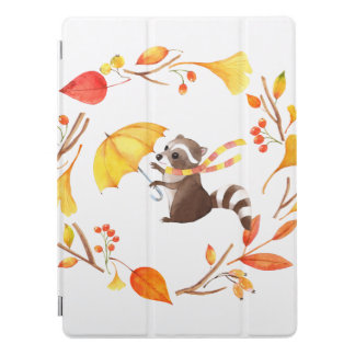 Cute Little Raccoon With Umbrella in Leafy Wreath iPad Pro Cover